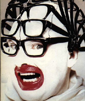 Leigh Bowery (1961-1994) modelling glasses from Taboo